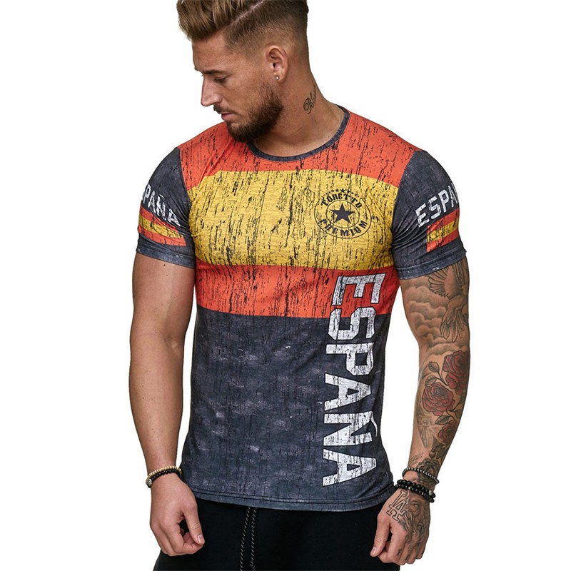 Men's T-shirt Short-sleeved Flag Football Sports Comfortable Breathable T-shirt Fashion Casual T-shirt Summer Clothing Shirt
