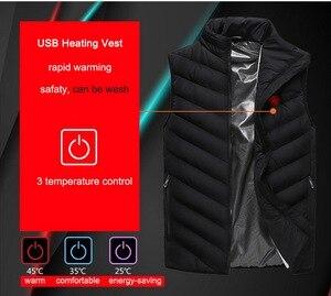 Image 4 - USB ساخنة سترة الرجال الشتاء الكهربائية ساخنة Sleevless سترة السفر التدفئة سترة في الهواء الطلق صدرية المشي سخان سترات AM356
