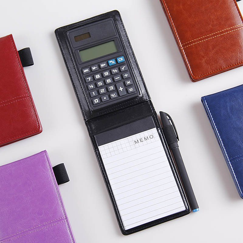 US $9 49 |A7 Portable PU Memo Pad with Calculator, Multifunction Pocket  Size PU Notepad with Pen Holder, Business Office Supplies-in Memo Pads from