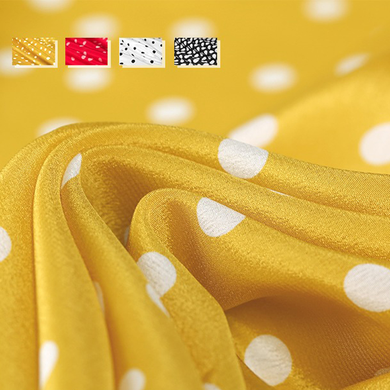 4Colors! 113CM Wide 16MM White Polka Dots Print White Red Yellow Silk Crepe de Chine Fabric for Summer Dress Jacket Pants E10364Colors! 113CM Wide 16MM White Polka Dots Print White Red Yellow Silk Crepe de Chine Fabric for Summer Dress Jacket Pants E1036
