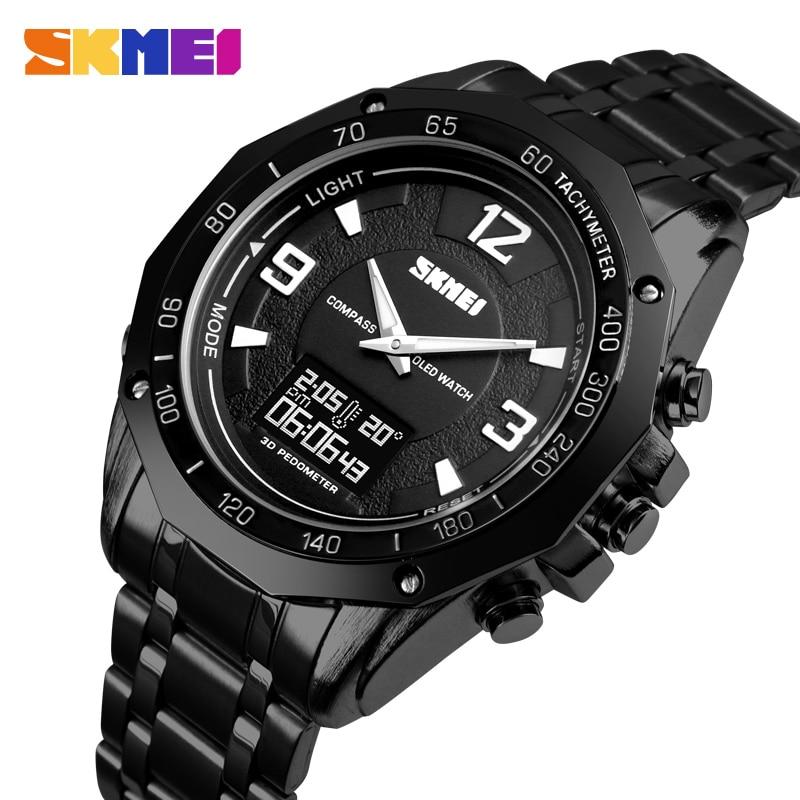 SKMEI Smart Watch Men Dual Display Watches Compass Alarm Calorie Calculation Men Quartz Wristwatches relogio masculino 1464