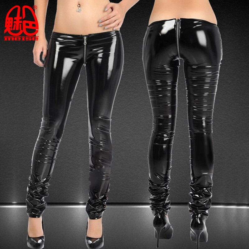 Sexy Women Shiny Zipper Open Crotch Pencil   Pants   PVC Punk Low Waist Leggings Casual   Pants     Capris   Club Dance wear Plus Size X57