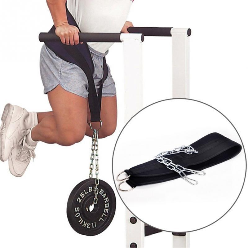 Avec chaîne exercice entraînement Gym équipements Nylon Fitness Dip ceinture musculation tirer poids levage soutien taille force