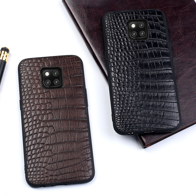 Genuine Leather Phone case For Huawei P10 P20 Lite Pro case Business Style Triangle Texture For
