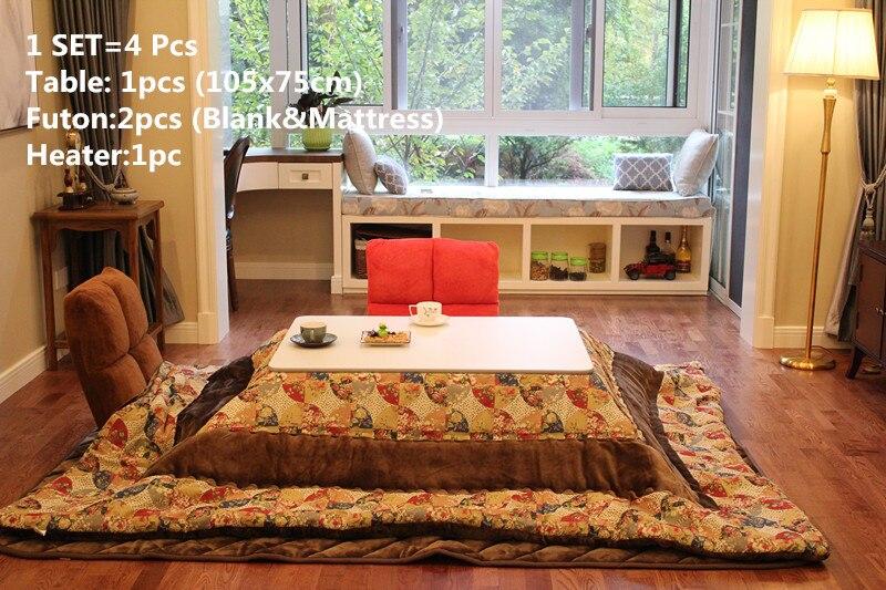 (4 Teile/satz) Japanischen Stil Kotatsu Set Klapp Tabelle Futon Heizung Wohnzimmer  Möbel