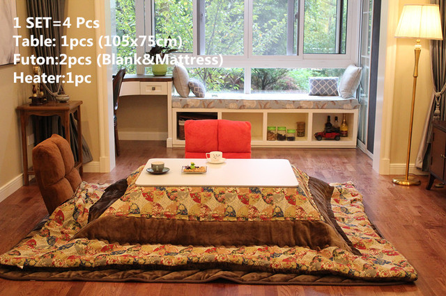 4pcs/set)Japanese Style Kotatsu Set Folding Table Futon Heater ...