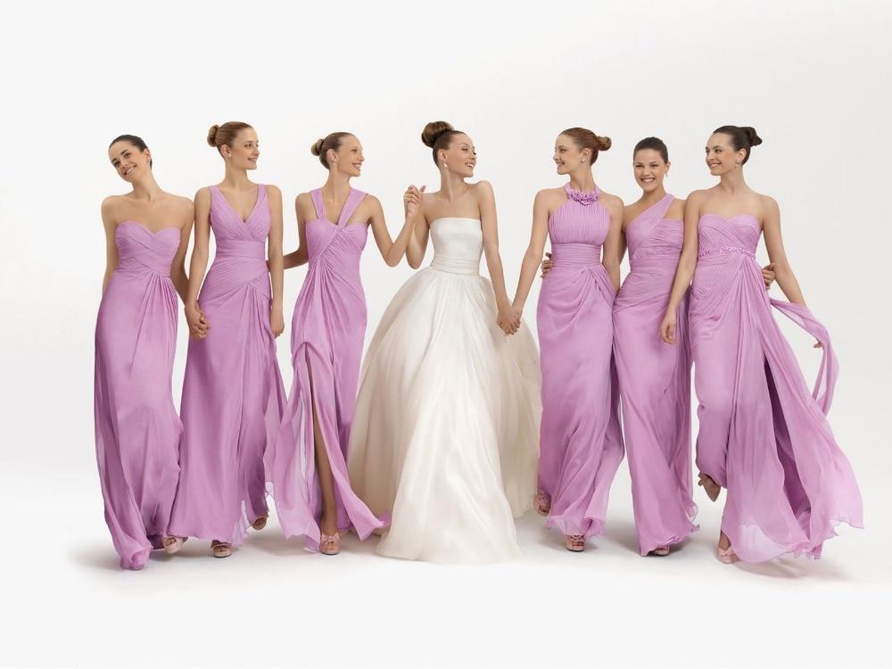 Nouveauté rose vert Orange bleu lilas lavande Style différent en mousseline de soie longues robes de demoiselle d'honneur
