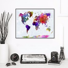 World Map Watercolor Canvas Art Print Painting Poster Wall Pictures For Living Room Home Decorative Decor No Frame