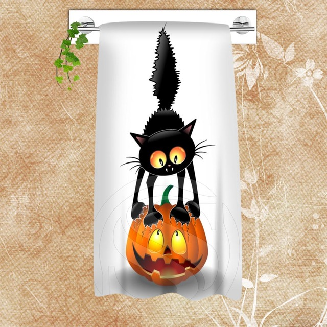 h p375 custom big size 140cmx70cm cotton bath cat and halloween25 shower towel - Halloween Bath Towels