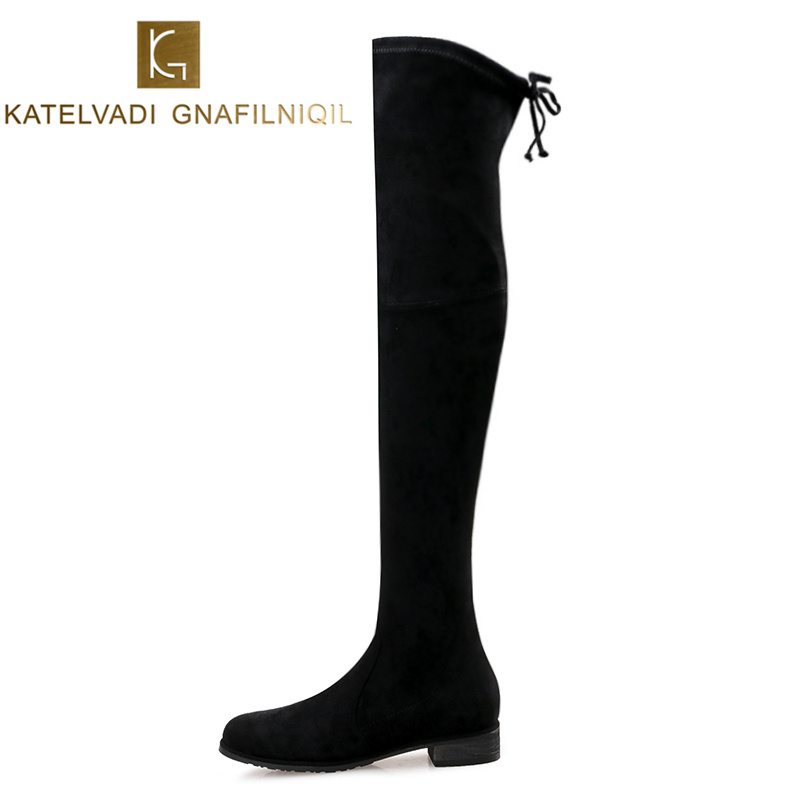 Shoes Woman Winter Boots Stretch Slim Over Knee Boots Women Round Toe Square Heels Black Women Thigh High Boots Snow Shoes K-196