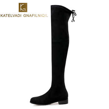 KATELVADI Size 34-43 Over Knee Boots Women Round Toe Square Low Heels Black Flock Women Thigh High Boots Snow Winter Boots K-196 - DISCOUNT ITEM  49% OFF All Category
