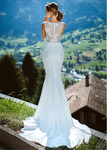 Image 5 - Romantische O Ausschnitt Sehen durch Meerjungfrau Hochzeit Kleid Mit Spitze Appliques Illusion Zurück Mermaid Brautkleid vestidos de 15