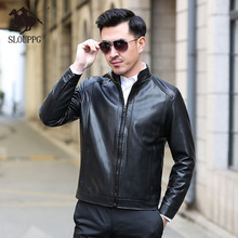 купить Spring Autumn Motorcycle Leather Jacket Men Slim Fite Zipper PU Jacket Men's Leather Jackets Motorcycle Stand Collar PU Leather дешево
