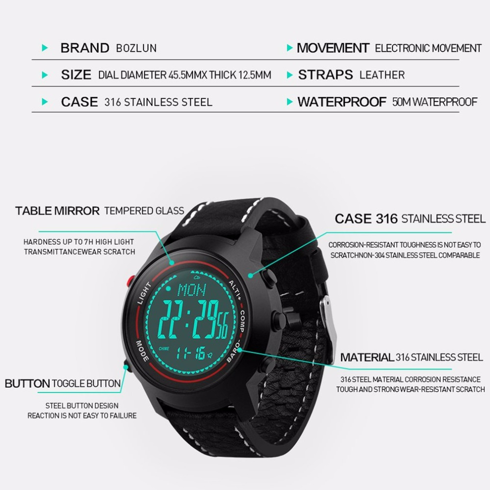 MG03 Men Outdoor Watch Multi Function Stainless Steel Dial Leather Band Mountaineer Sports Watch Altimeter Barometer Thermometer in Smart Watches from Consumer Electronics