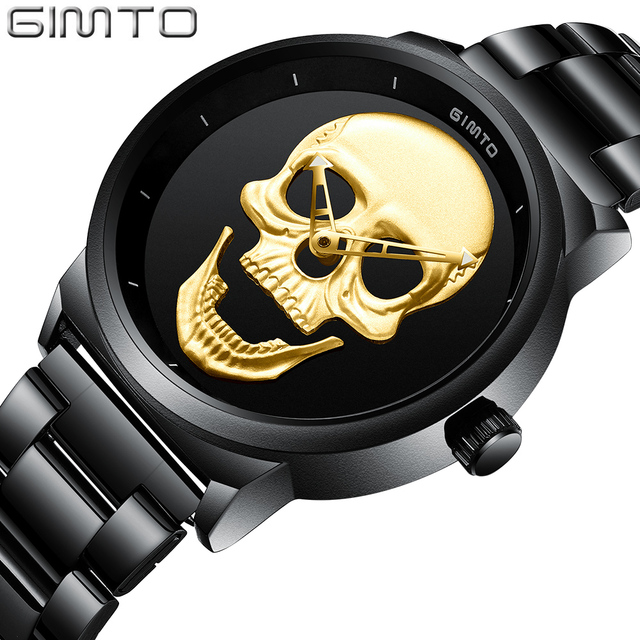 GIMTO Fashion Casual Gold Lover's Skull Watch Stainless Steel Unique 3D Skeleton