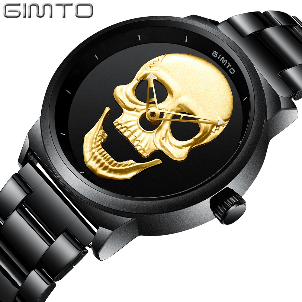 GIMTO Fashion Casual Gold Lover's Skull Watch Stainless Steel Unique 3D Skeleton Pattern Women Men Watches Couple Wristwatch