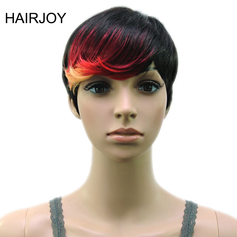 HAIRJOY Synthetic Hair Muti Color Bangs High Temperature Fiber Woman Short Wig 18 Colors Available