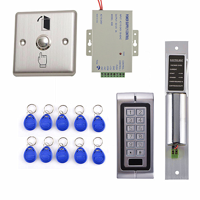 Electric Door  Lock + DIY 125KHz RFID Waterproof  Metal Password Keypad Door Access Control System Kit  k2 metal rfid em card reader ip68 waterproof metal standalone door lock access control system with keypad 2000 card users capacity