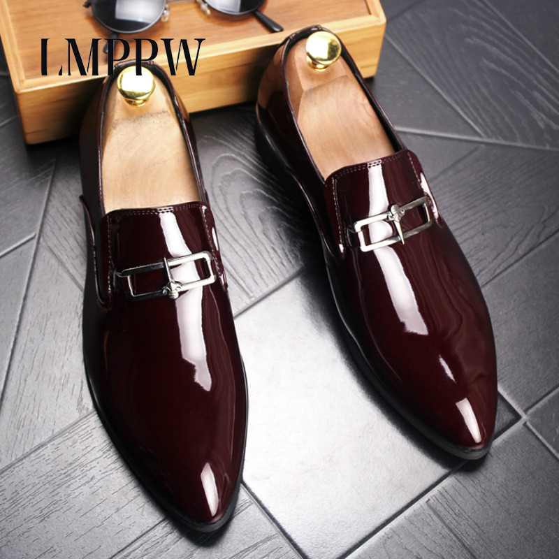England Style Patent Leather Men's Business Dress Shoes Pointed Toe Party Wedding Shoes Luxury Fashion Designer Men Oxford Shoes