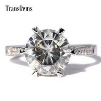 Обручальное кольцо TransGems центр 3ct 14 K белое золото 9 мм F цвет отличный разрезанный Муассанит кольцо для женщин свадьбы