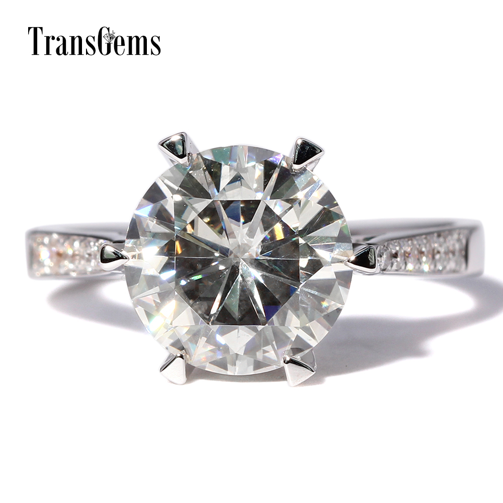 TransGems 3 Carat Lab Grown Moissanite Solitaire Wedding Ring moissanite Accents Solid 14K White Gold Women Engagement Band цена 2017