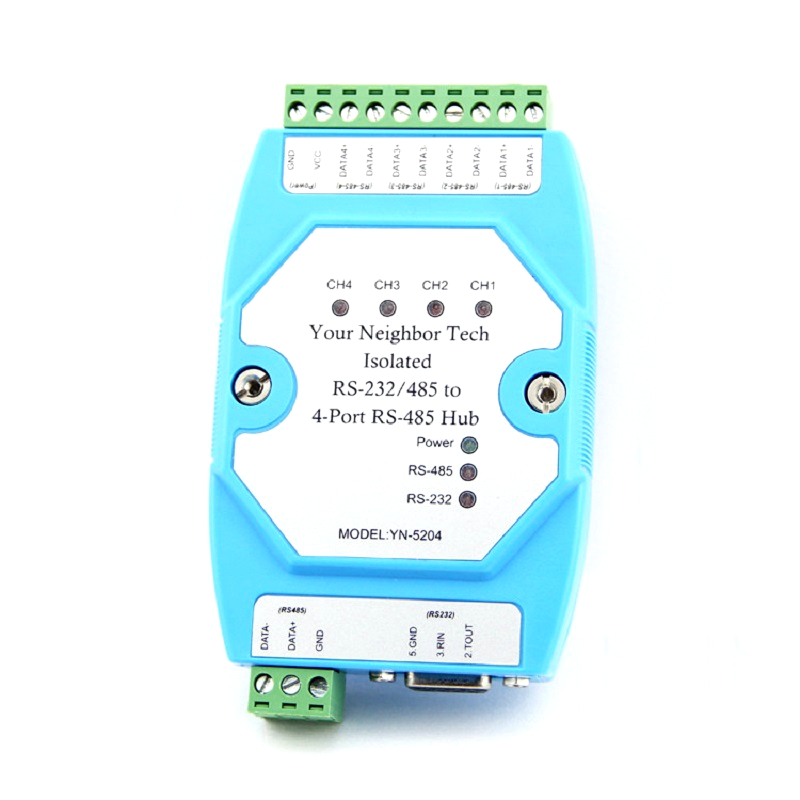 Isolated Bidirectional RS232 RS485 Go To 4-way 4channel RS485 Hub Splitter Repeater YN5204 UT5204