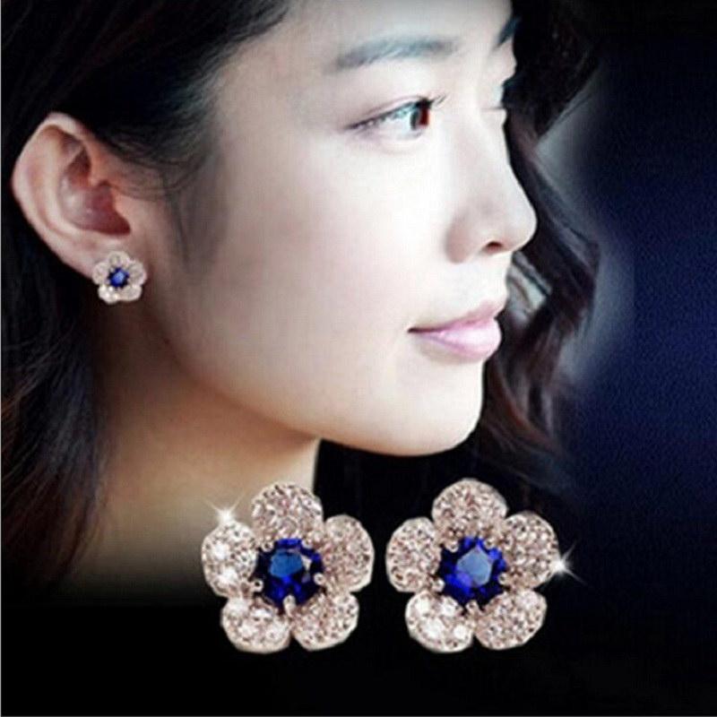Fashion Beauty Lady Elegant Blue Rhinestone Flower Stud Earrings Brincos Women Gift Golden Silvery Reatil
