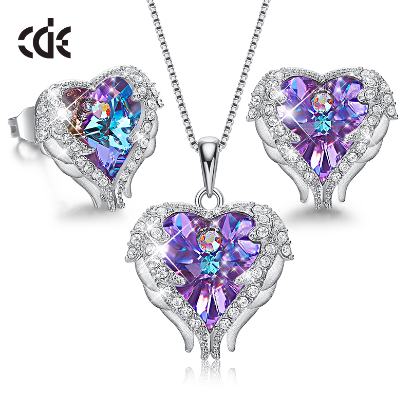CDE 925 Sterling Silver Women Jewelry Sets Embellished with crystals from Swarovski Necklace Earrings Set Heart