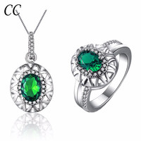 Green oval shape necklace sets and ring for women luxury crystal jewelry sets white gold color CCJS010