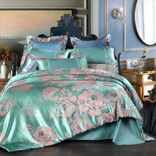 Gold White Blue Jacquard Silk Bedding Set Luxury 4pcs Satin Bed Sets Duvet Cover King Queen size Bedclothes Bed Linen Pillowcase