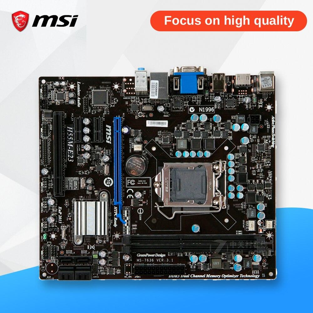 MSI H55M-E23 Desktop Motherboard H55 Socket LGA 1156 i3 i5 i7 DDR3 8G SATA2 Micro-ATX msi original zh77a g43 motherboard ddr3 lga 1155 for i3 i5 i7 cpu 32gb usb3 0 sata3 h77 motherboard