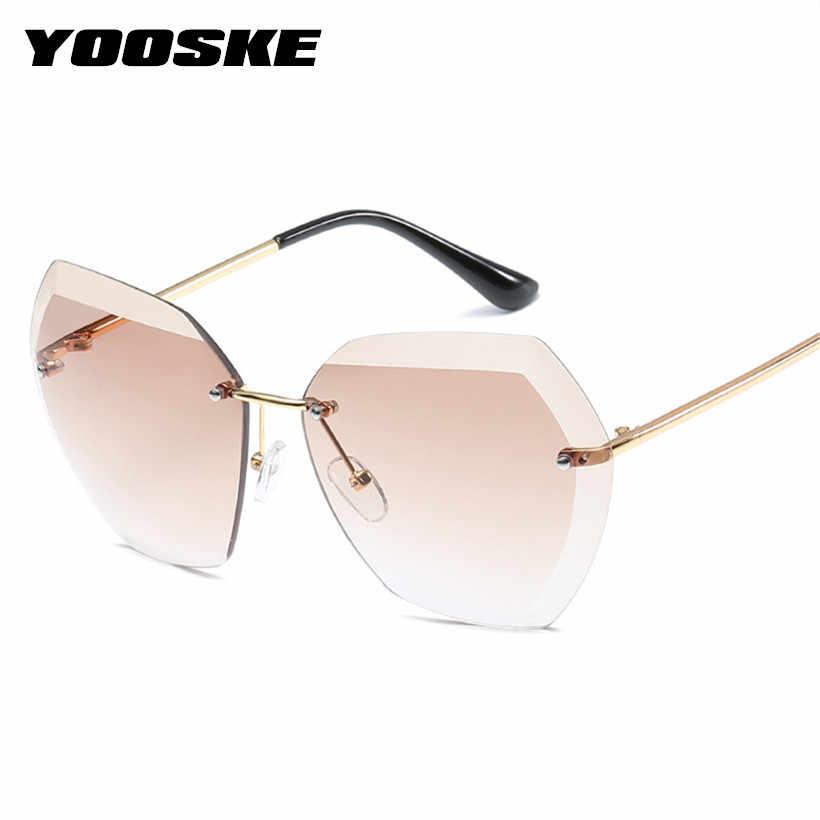 bf93a198443 YOOSKE Rimless Sunglasses Women Brand Designer Diamond Cutting Lens Sun  Glasses Oversized Gradient Transparent Glasses Plastic