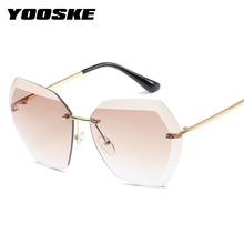 YOOSKE Rimless Sunglasses for Women Brand Designer Diamond Cutting Lens Sun Glasses Lady Oversized Gradient Transparent Glasses