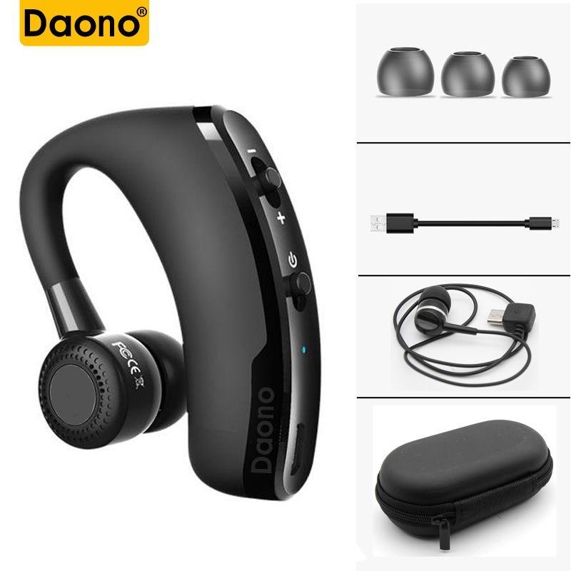 DAONO V9 manos libres negocios Bluetooth auriculares con micrófono, Control de voz auricular inalámbrico Bluetooth para coche cancelación del ruido