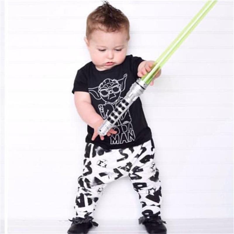 Fashion baby boy clothes star wars printing t shirt pants for T shirt printing for babies