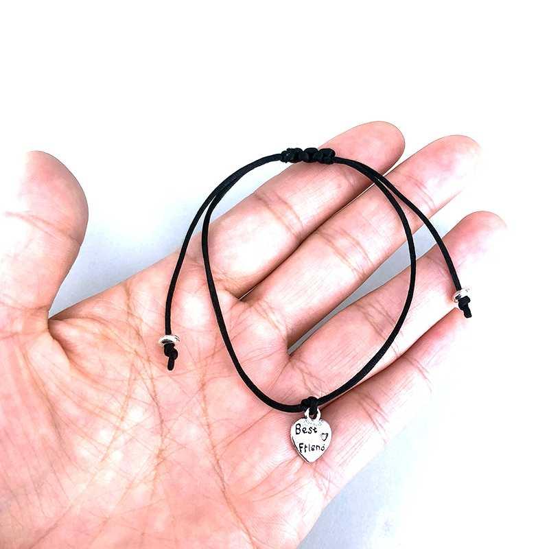 В форме сердца любовь брелок лучшие друзья браслет для женщин мужчин детей ювелирные изделия подарок счастливый браслет желаний Бесплатная дружба карта X021