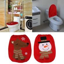 Christmas Snowman Elk Bathroom Set Non Woven Toilet Seat Cover Lid Xmas Decoration For New