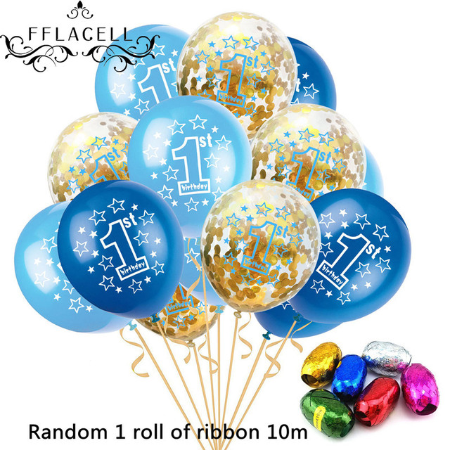 FFLACELL 15pcs 1st Birthday Balloons Set Pink Blue Transparent Confetti Latex For Boy Girl 1