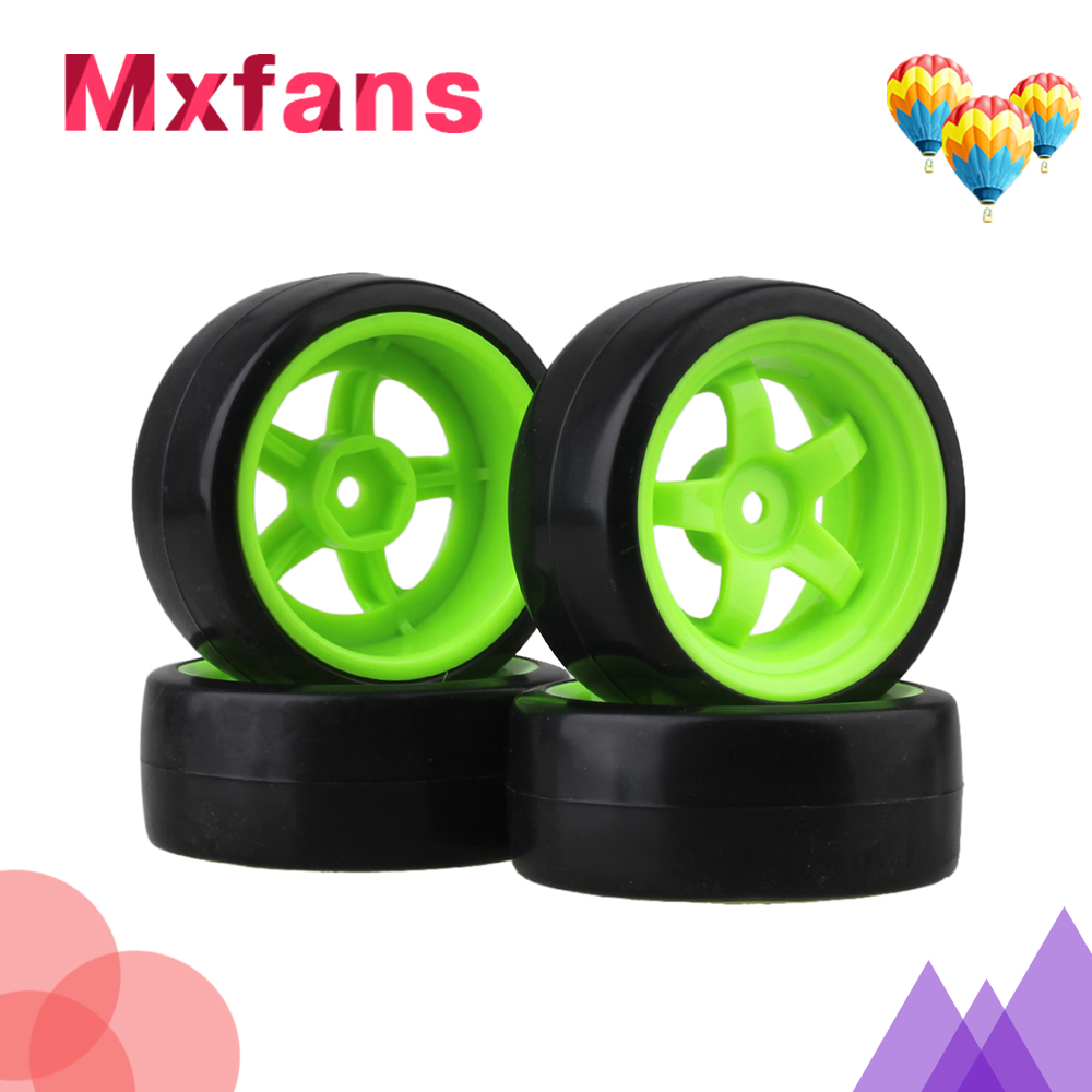 Mxfans 4x Drift Tire & Green Wheel Rim for RC 1:10 On Road Racing Car & Drift Car Black universal replacement plastic tire w wheel rim hub for 1 10 on road model cars black 4pcs