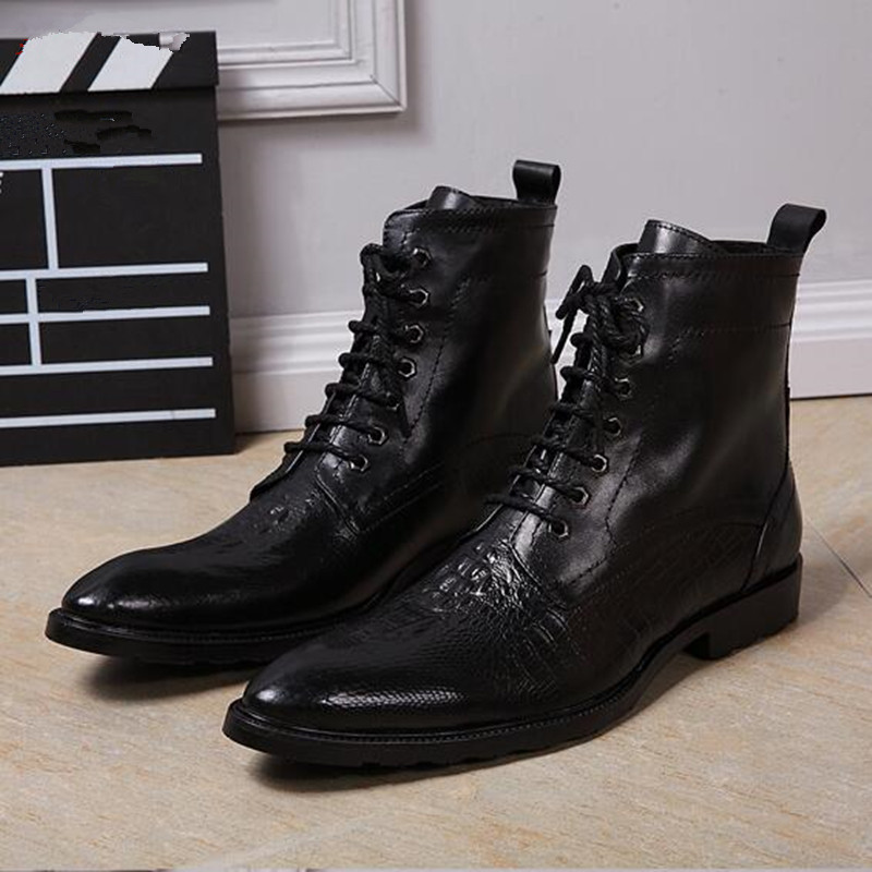 Pointed Toe Black Cross-tied Solid Ankle Men Leather Botas Lace Up Low Heel Dress Party Casual Leisure Shoes Botas Masculina new style black triangle metal decoration fashion style pointed toe lace up men party nightclub men leather leisure shoes macho
