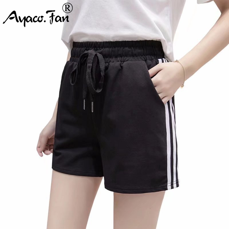Shorts 2019 Summer New High Waist Patchwork Soft Women Sports Shorts For Girl Female Lady Casual Athletic Slim Short Trousers