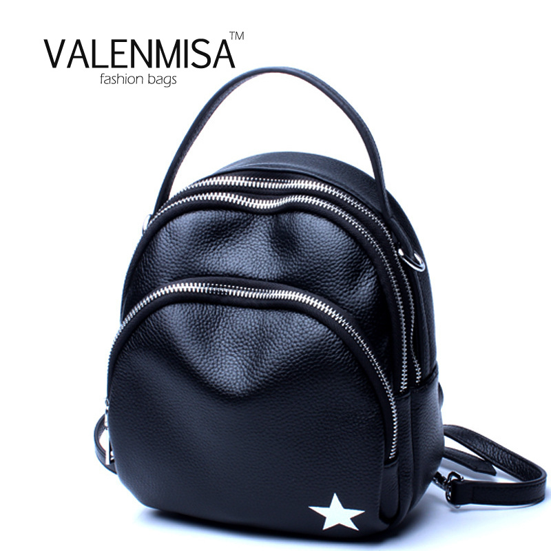 VALENMISA Genuine Leather Small Backpack Women Bags Preppy Style Backpack Girls School Bags Zipper Kanken Leather Mini Backpack nawo fashion genuine leather backpack rivet women bags preppy style backpack girls school bags zipper large women s backpack sac