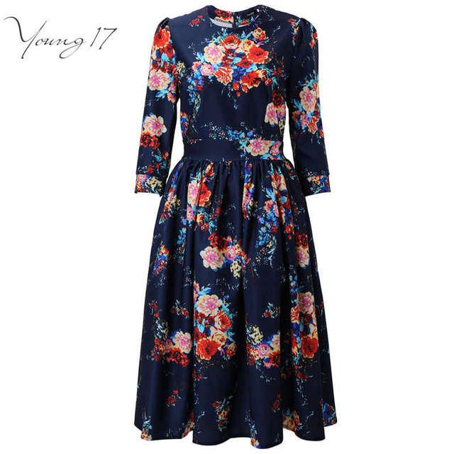 Young17 Liquidación 2016 la venta Caliente Nuevo Vestido de Verano de La Vendimia Retro Floral Print Vestido de Las Mujeres 3/4 de La Manga Vestido de Verano vestido