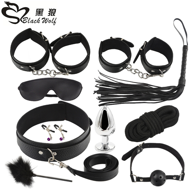 New 10 Pcs set Sexy Lingerie PU Leather BDSM Sex Bondage Set Hand Cuffs  Footcuff Whip Rope Blindfold Erotic Sex Toys For Couples