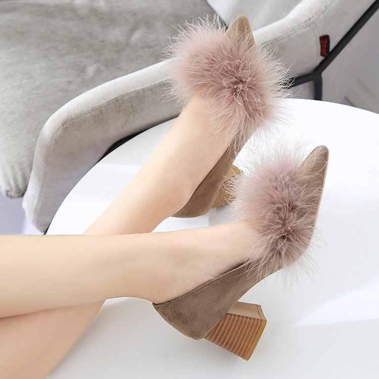 韓国語バージョンスエード 5 センチ単一の靴を指摘本当に毛深いセクシーな浅い口ハイヒール。