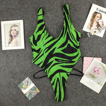 Swimwear Women One Piece Swimsuit Zebra Monokini Bikini Sexy Bandeau Biquini Female Push Up Bathing Suit стоимость