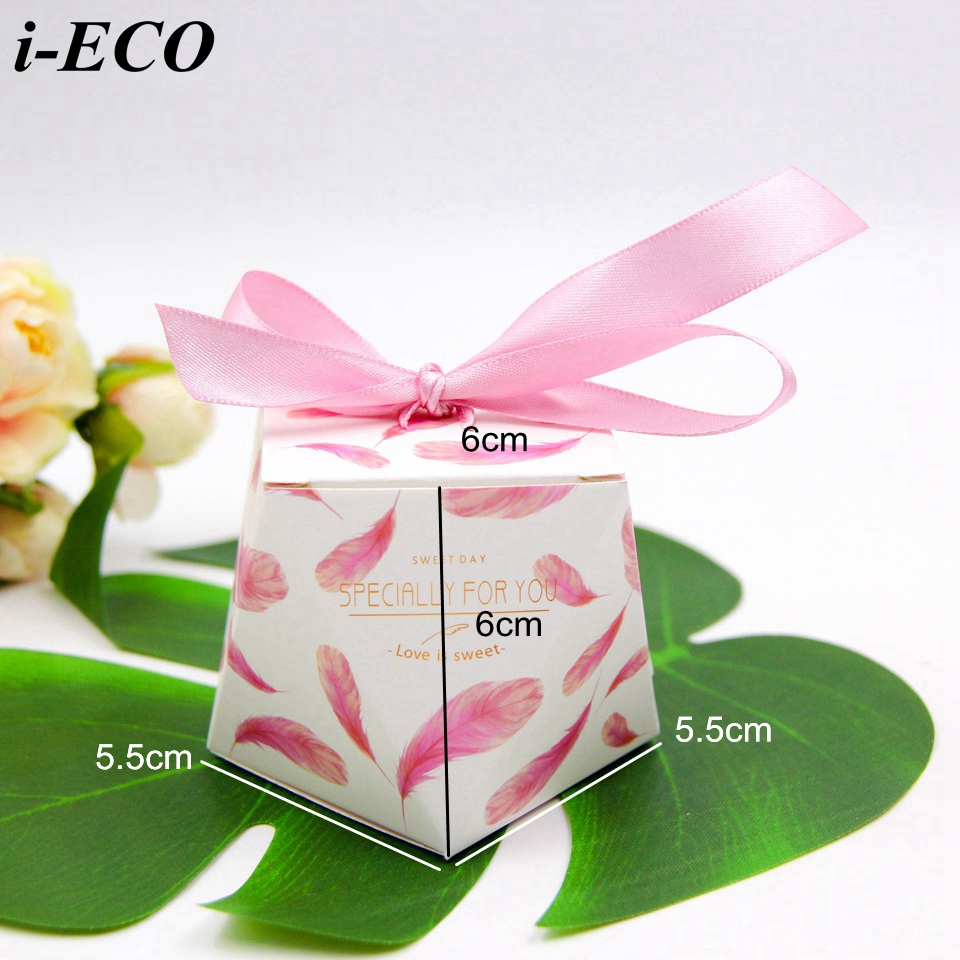 10PCS/Lot Flamingo/Pink Feather Candy Pattern Kraft Gift Box ...