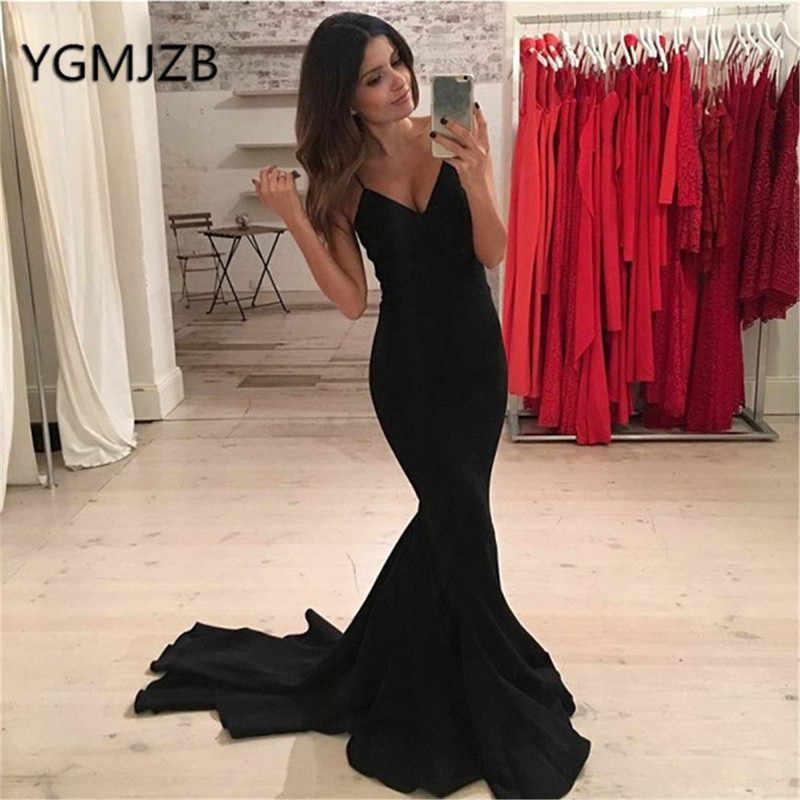 Sexy Vestidos De Noche Negros Sin Espalda Largo 2019 Sirena Profundo Cuello Pico Espagueti Correas Satén Mujeres Formal Vestido De Fiesta