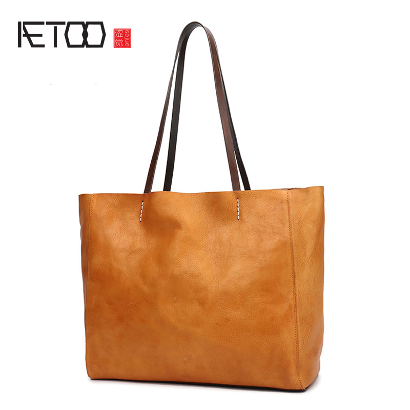 AETOO New women's bag simple atmosphere shoulder bag female leather big bag horizontal version large capacity cowhide tote bag connie malamed visual design solutions principles and creative inspiration for learning professionals