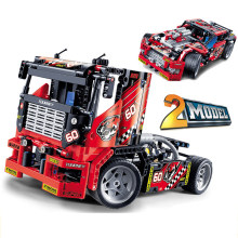 608 Pcs Legoings Truk Ras Mobil 2 In 1 Transformable Model Blok Bangunan Mainan Kit Diy Pendidikan Natal Hadiah Ulang Tahun(China)